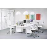 Bureau droit design BOUNY en bois pieds blancs (160 X 80 cm) (blanc)