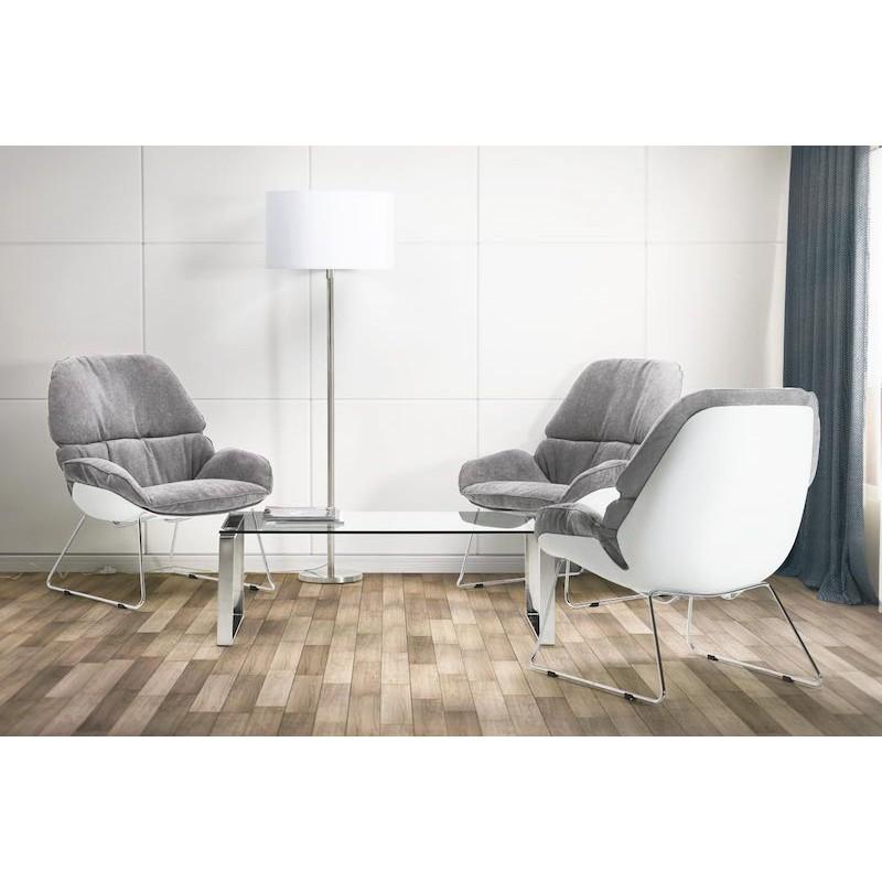 Fauteuil lounge design LILOU en tissu (gris clair) - image 30058