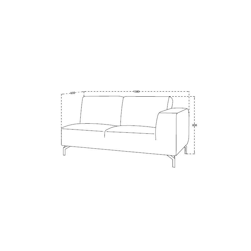 Canapé d'angle côté Gauche design 4 places avec méridienne  ORIANE en tissu (gris) - image 30118