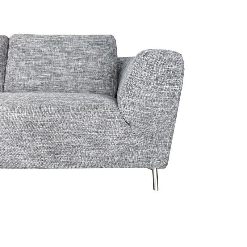 Canapé d'angle côté Droit design 5 places avec méridienne JUSTINE en tissu (gris clair chiné) - image 30123