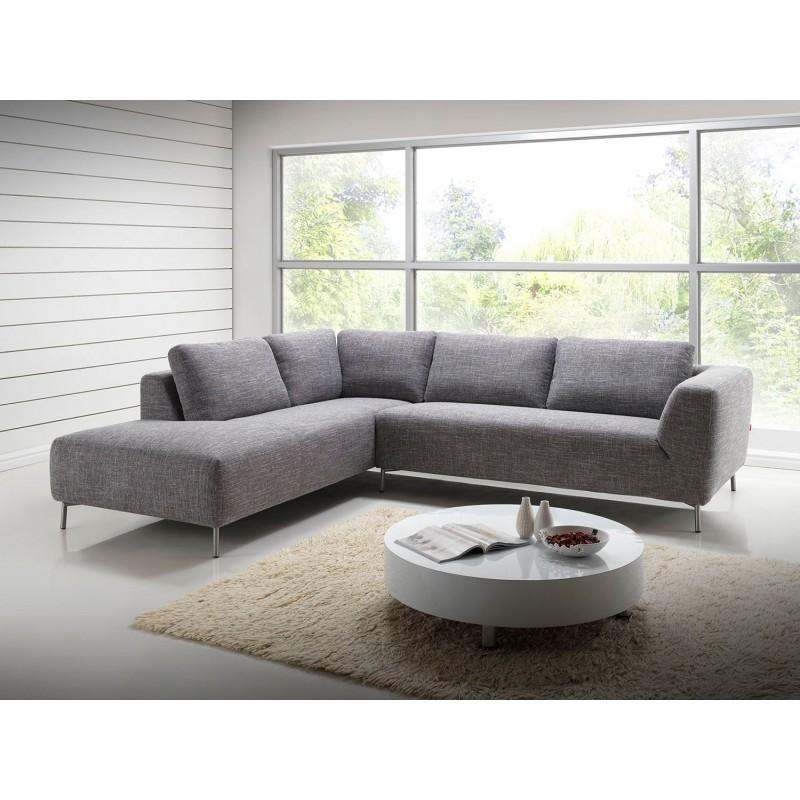 Canapé d'angle côté Gauche design 5 places avec méridienne JUSTINE en tissu (gris clair chiné) - image 30127