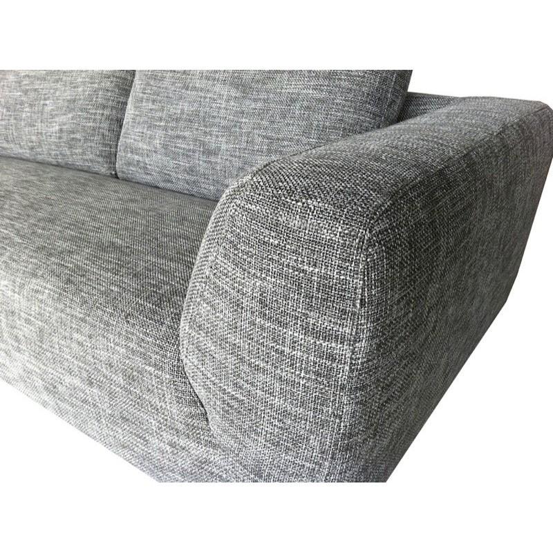 Canapé d'angle côté Gauche design 5 places avec méridienne JUSTINE en tissu (gris clair chiné) - image 30130