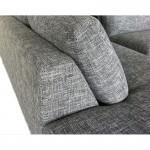 Canapé d'angle côté Gauche design 5 places avec méridienne JUSTINE en tissu (gris clair chiné)