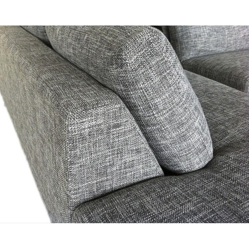 Canapé d'angle côté Gauche design 5 places avec méridienne JUSTINE en tissu (gris clair chiné) - image 30131