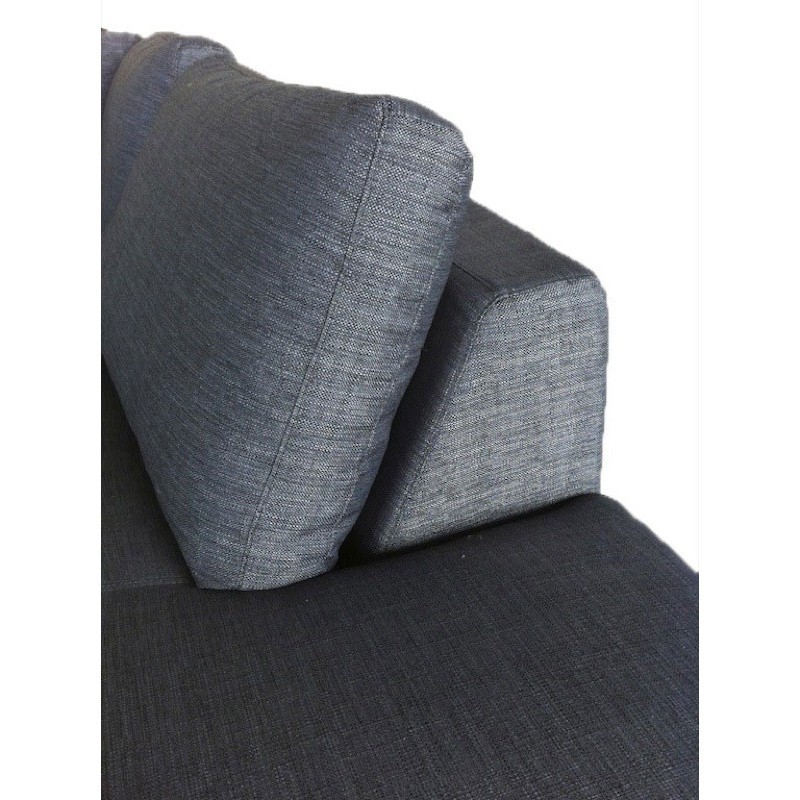 Canapé d'angle côté Droit design 5 places avec méridienne JUSTINE en tissu (gris foncé) - image 30136