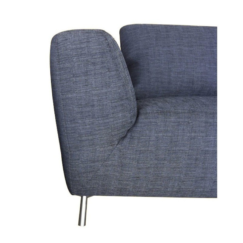 Canapé d'angle côté Gauche design 5 places avec méridienne JUSTINE en tissu (gris foncé) - image 30141