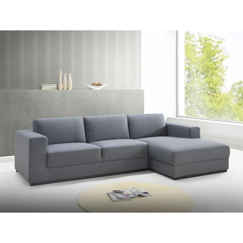 Canapé d'angle côté Droit design 4 places avec méridienne  MAGALIE en tissu (gris) - image 30156