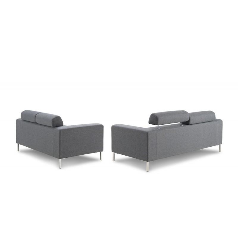 Canapé droit fixe design 3 places CHARLINE en tissu (gris) - image 30163