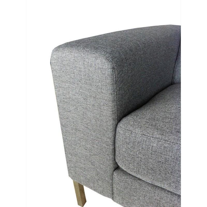 Canapé droit fixe design 3 places CHARLINE en tissu (gris) - image 30164