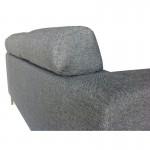 Canapé droit fixe design 3 places CHARLINE en tissu (gris)