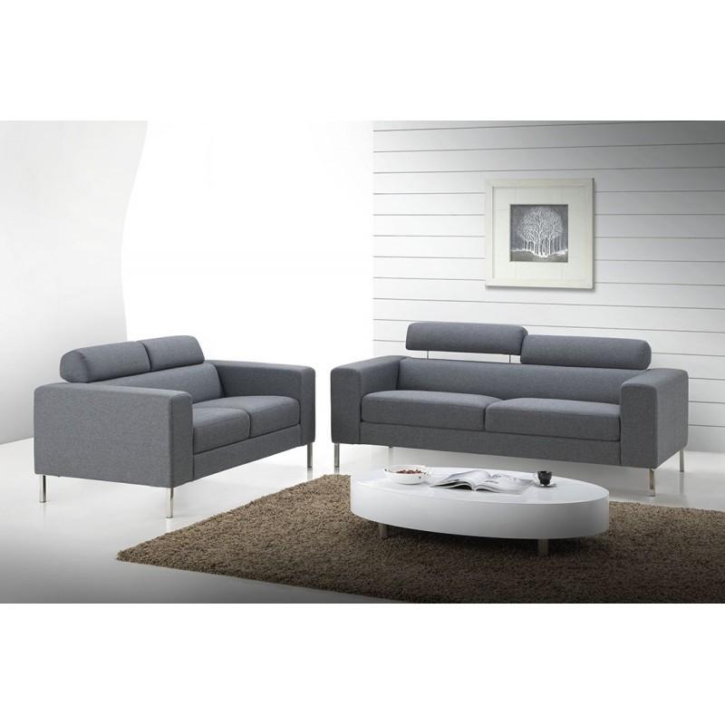 Canapé droit fixe design 2 places CHARLINE en tissu (gris) - image 30166