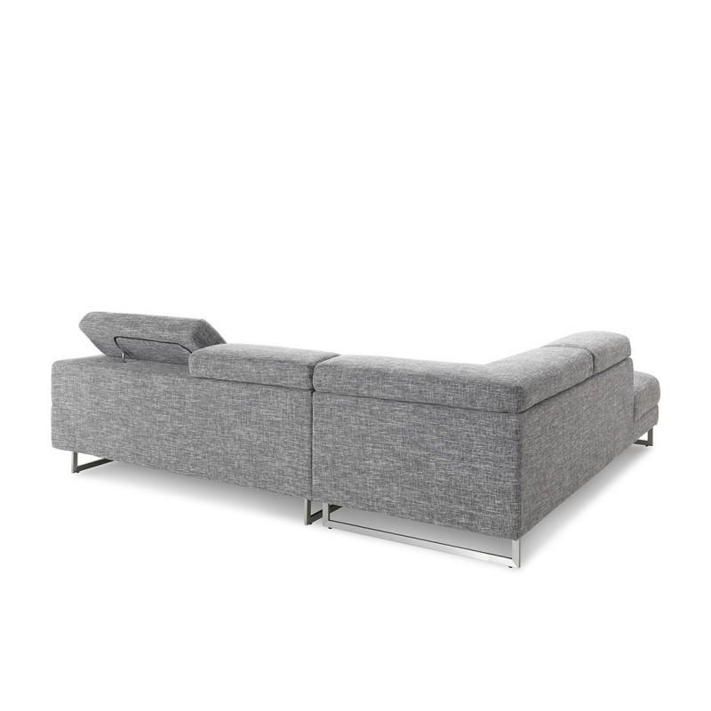 Canapé d'angle côté Gauche design 5 places avec méridienne MATHIS en tissu (gris clair chiné) - image 30181