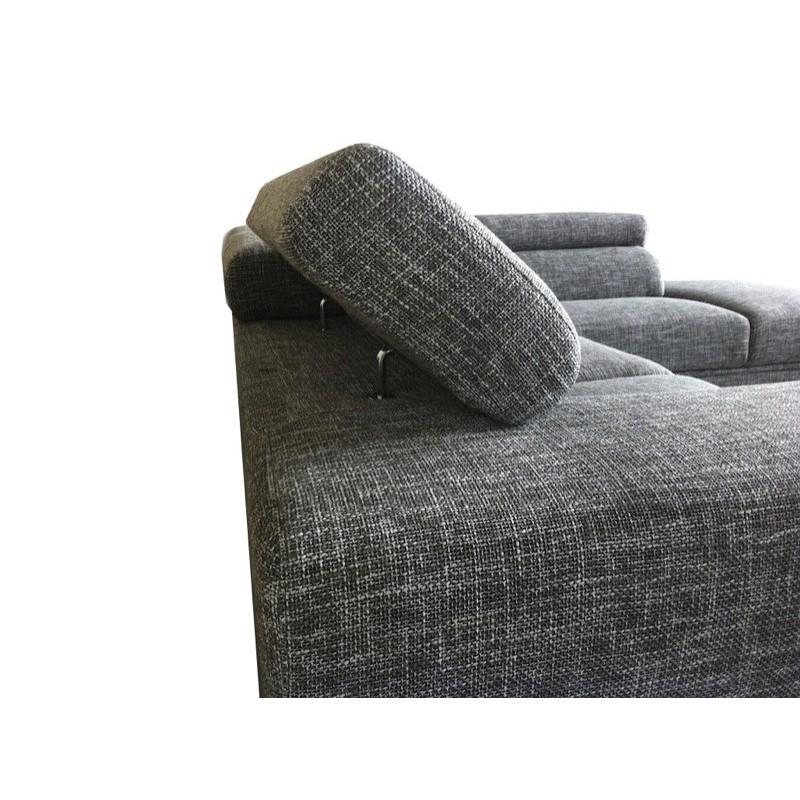 Canapé d'angle côté Gauche design 5 places avec méridienne MATHIS en tissu (gris clair chiné) - image 30184