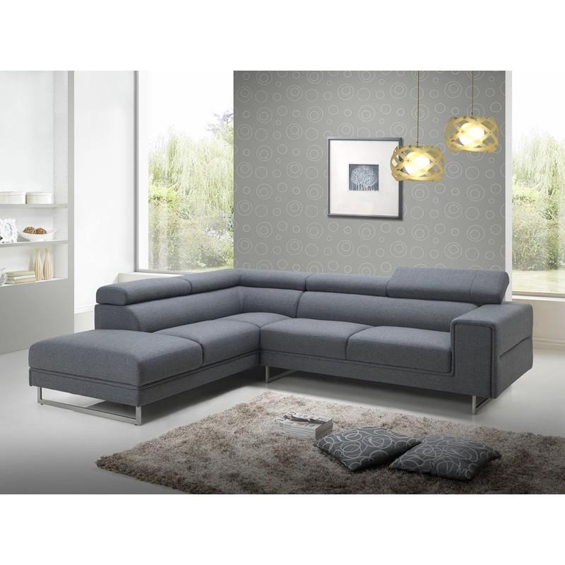 Canapé d'angle côté Gauche design 5 places avec méridienne MATHIS en tissu (gris foncé) - image 30192