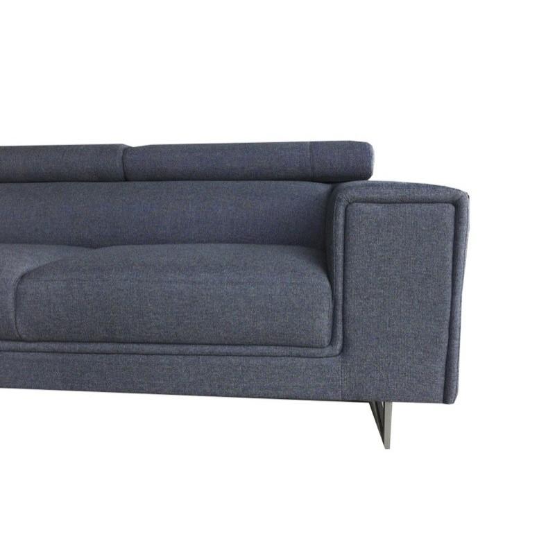 Canapé d'angle côté Gauche design 5 places avec méridienne MATHIS en tissu (gris foncé) - image 30195