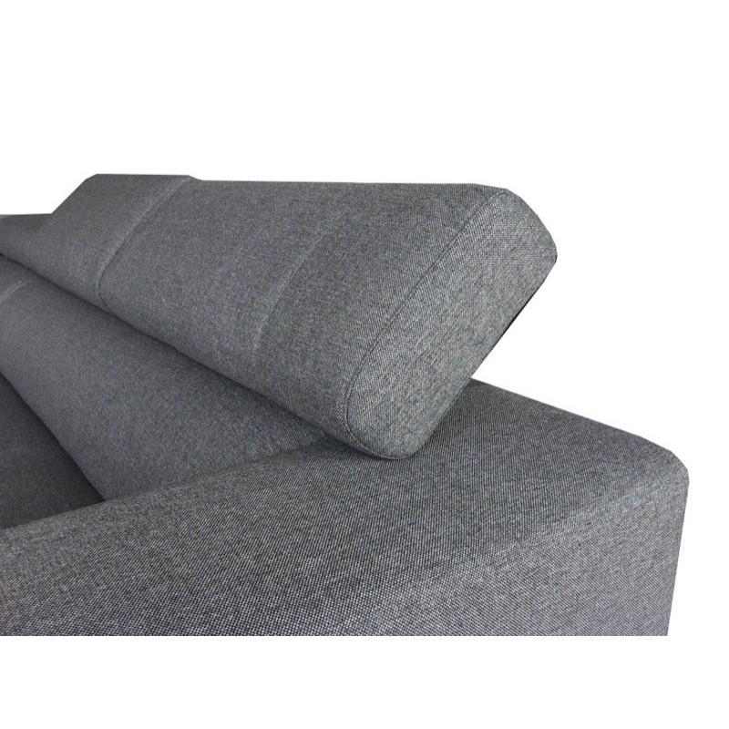 Canapé d'angle côté Gauche design 5 places avec méridienne MATHIS en tissu (gris foncé) - image 30197
