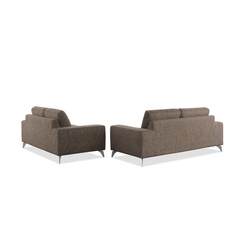 Canap droit design 2 places albert en tissu marron - Canape droit 2 places ...