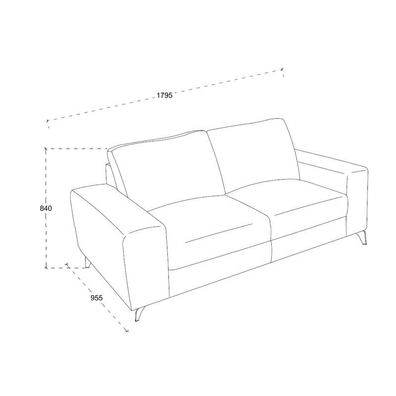 Canapé droit design 2 places ALBERT en tissu (marron) - image 30203