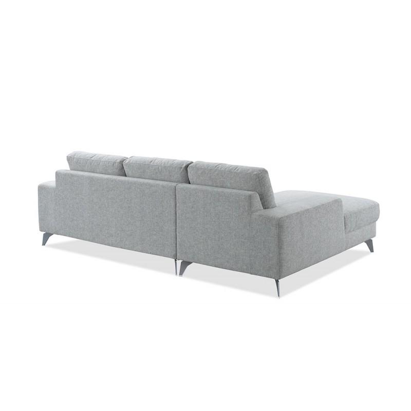 Canapé d'angle côté Droit design 3 places avec méridienne THEO en tissu (gris clair) - image 30204