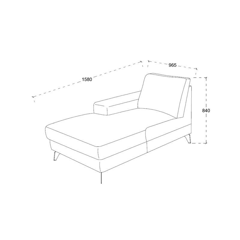 Canapé d'angle côté Gauche design 3 places avec méridienne THEO en tissu  (gris clair) - image 30211