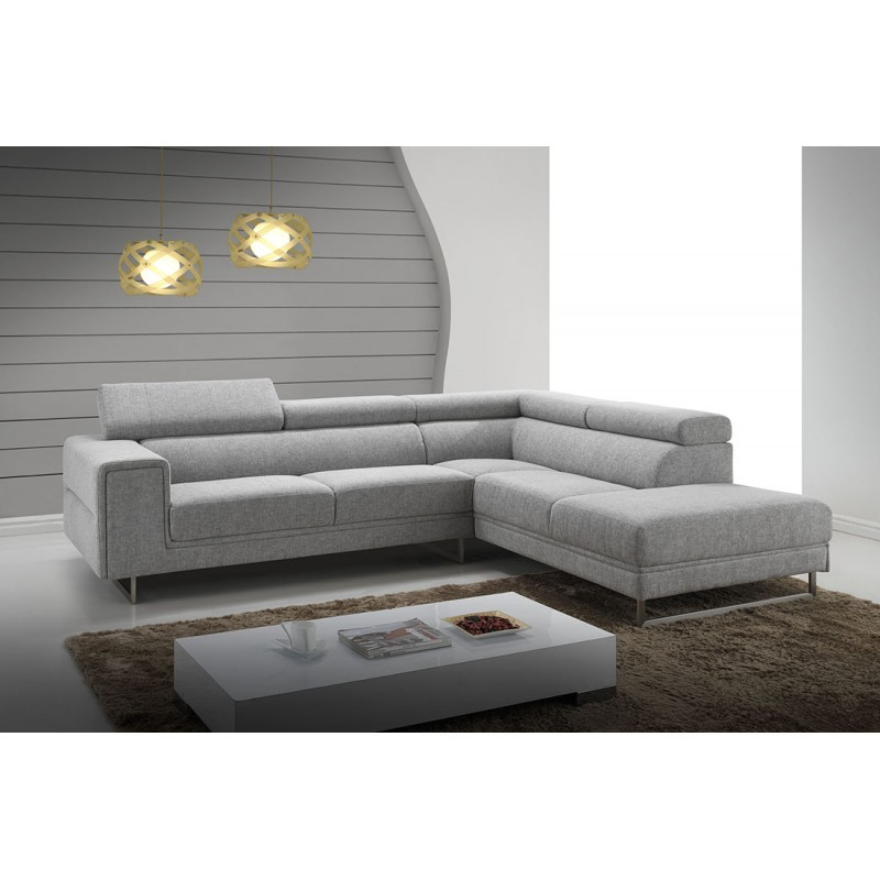 corner sofa design right side 5 places with meridian mathis in fabric light gray. Black Bedroom Furniture Sets. Home Design Ideas
