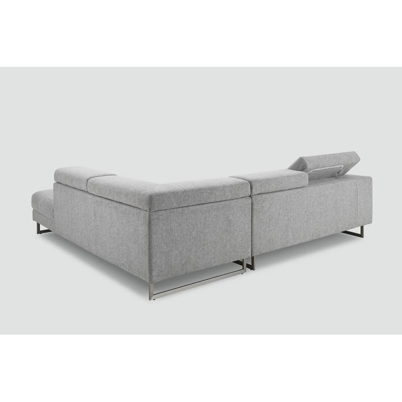 Canapé d'angle côté Droit design 5 places avec méridienne MATHIS en tissu (gris clair) - image 30217