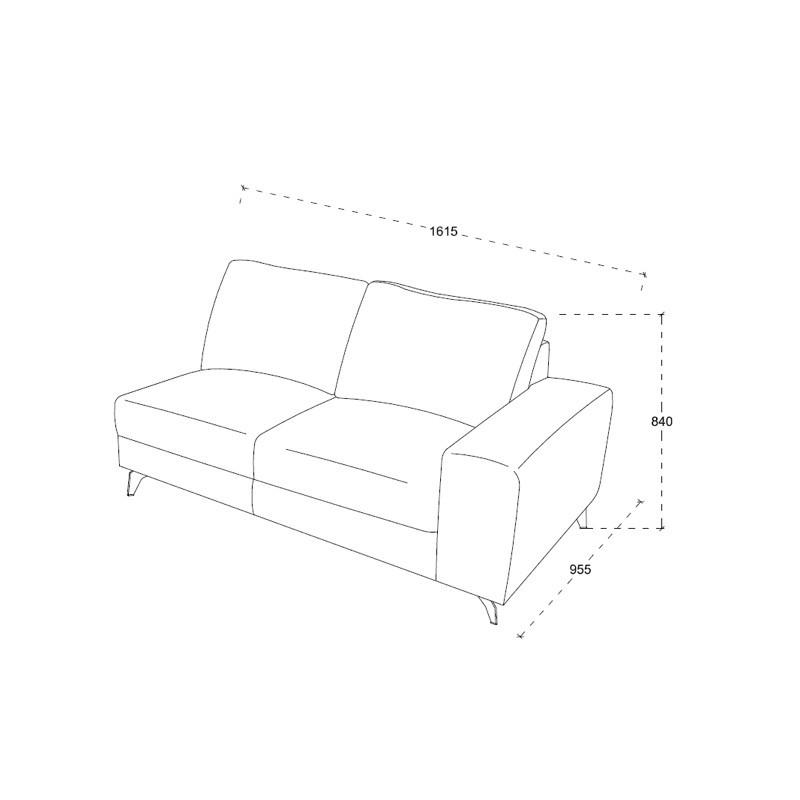 Canapé d'angle côté Gauche design 3 places avec méridienne THEO en tissu (gris foncé) - image 30227