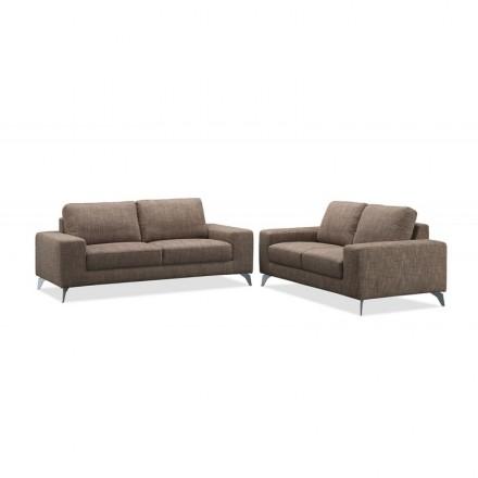 Canapé droit design 3 places ALBERT en tissu (marron)