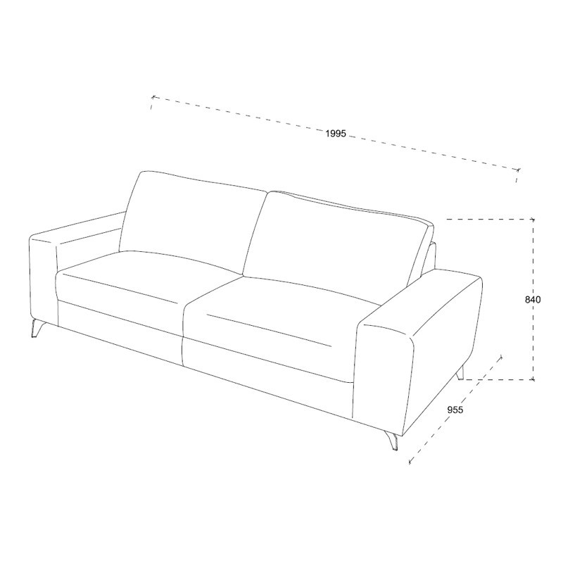 Canapé droit design 3 places ALBERT en tissu (marron) - image 30231
