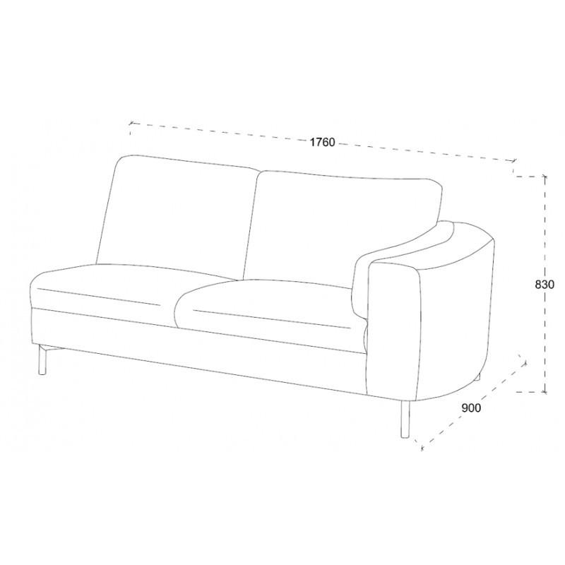 Canapé d'angle côté Droit design 3 places avec méridienne MORIS en tissu (gris foncé) - image 30234
