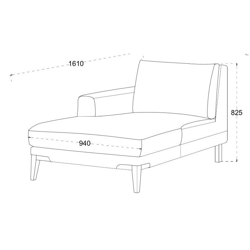 Canapé d'angle côté Droit design 3 places avec méridienne SERGIO en tissu (gris) - image 30240