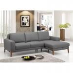 Canapé d'angle côté Droit design 3 places avec méridienne SERGIO en tissu (gris)