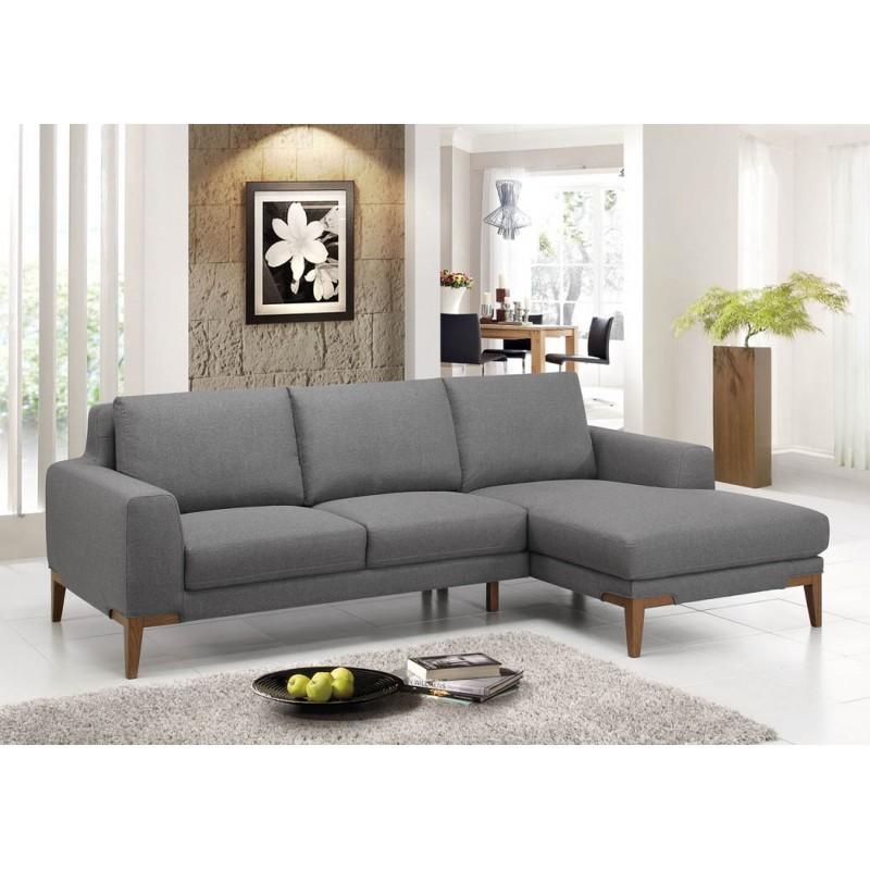 Canapé d'angle côté Droit design 3 places avec méridienne SERGIO en tissu (gris) - image 30242