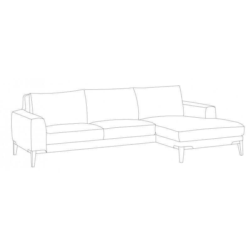 Canapé d'angle côté Droit design 3 places avec méridienne SERGIO en tissu (gris) - image 30249