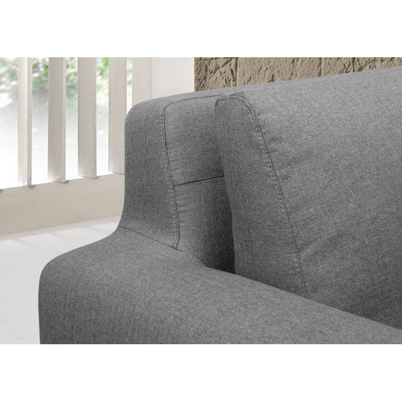 Canapé d'angle côté Gauche design 3 places avec méridienne SERGIO en tissu (gris) - image 30255