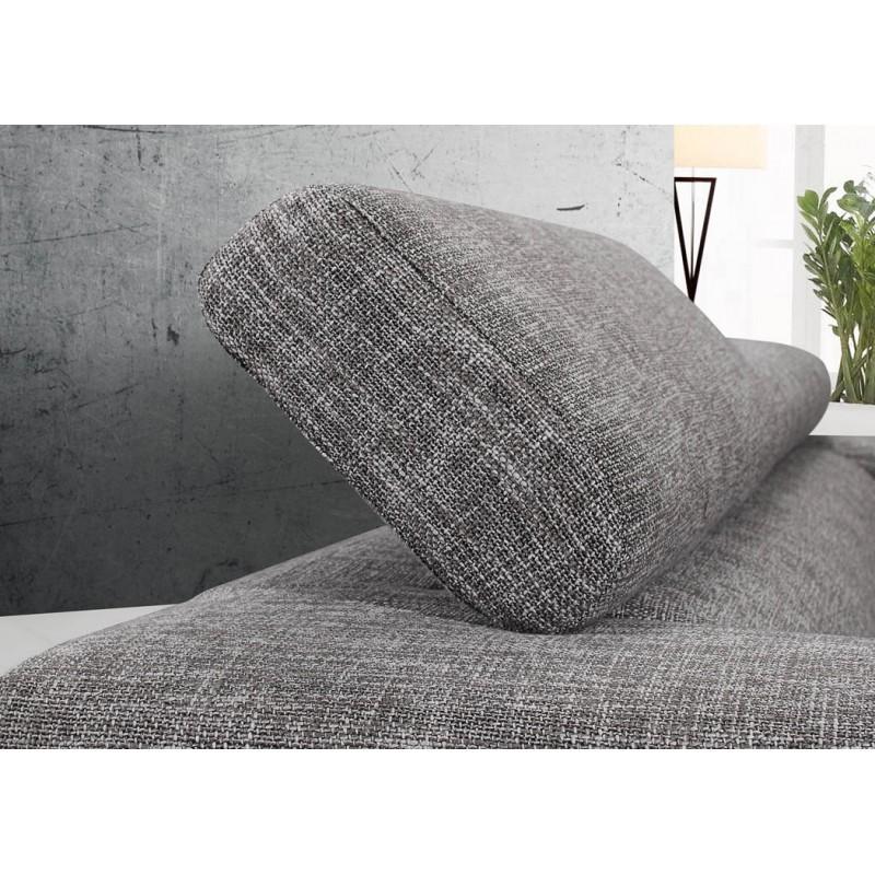 Canapé droit design 3 places MARIO en tissu (gris clair chiné) - image 30272