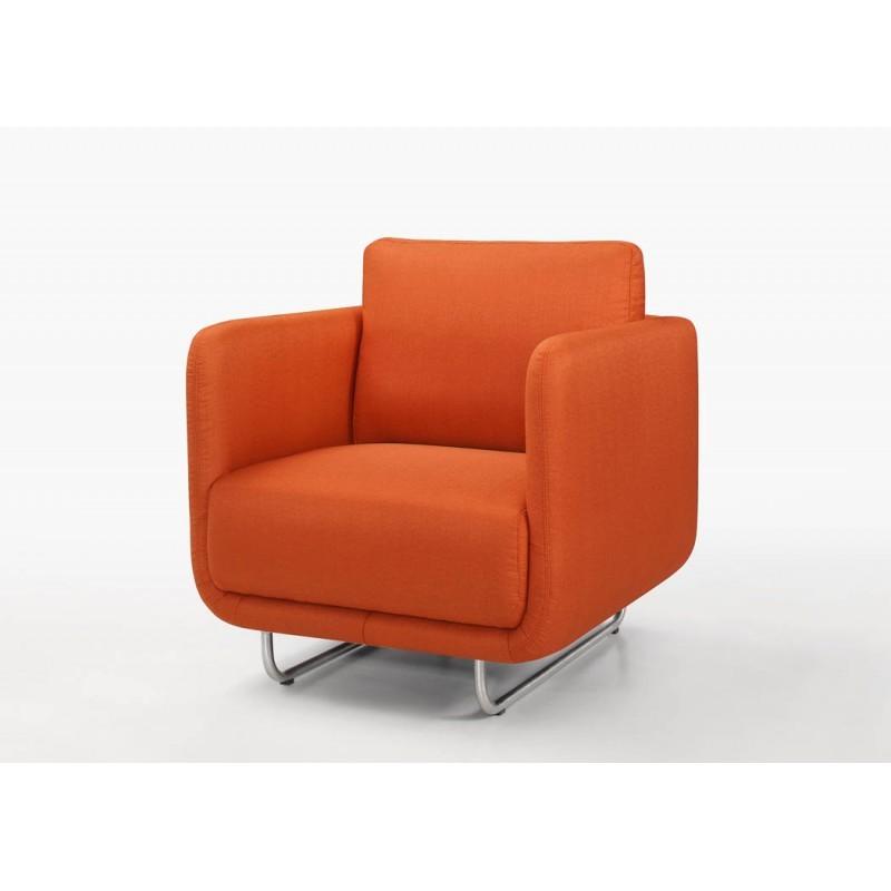 Fauteuil vintage cubique JONAZ en tissu (orange) - image 30280