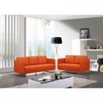 Canapé droit vintage cubique 2 places JONAZ en tissu (orange)