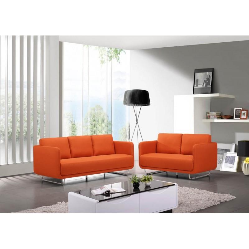 Canapé droit vintage cubique 2 places JONAZ en tissu (orange) - image 30297