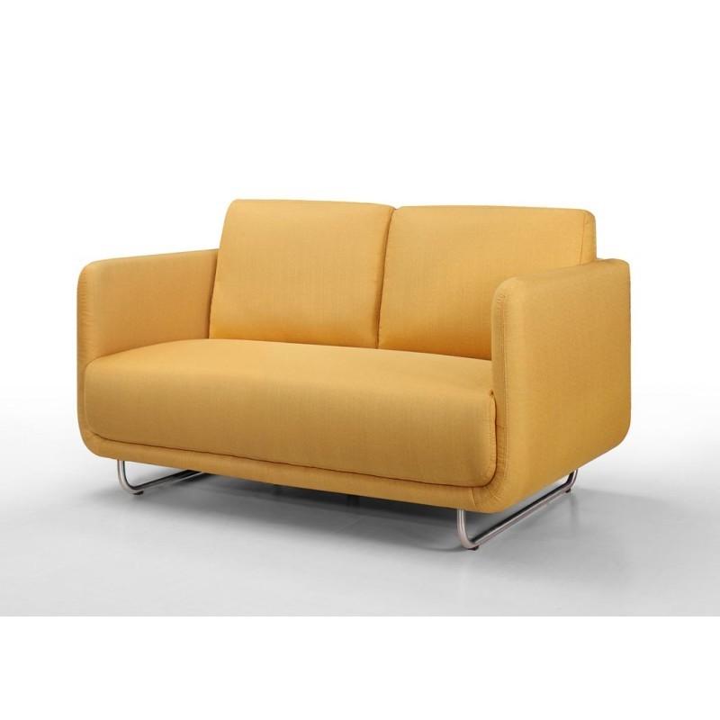 Canapé droit vintage cubique 2 places JONAZ en tissu (jaune)