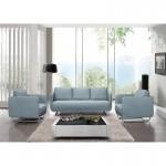 JONAZ tela cúbica 3 plazas vintage sofá (azul claro)