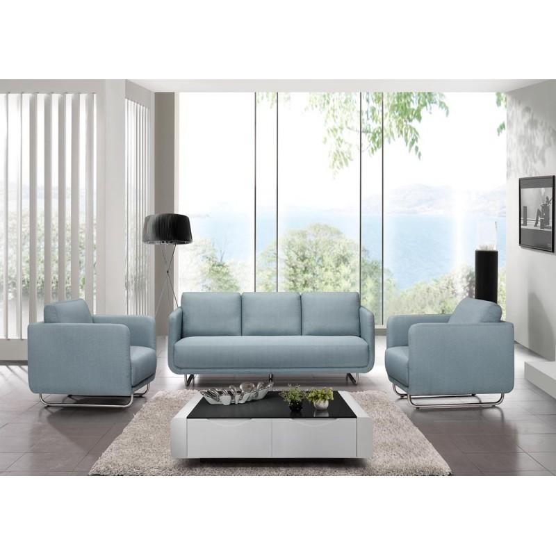 canap droit vintage cubique 3 places jonaz en tissu bleu clair. Black Bedroom Furniture Sets. Home Design Ideas