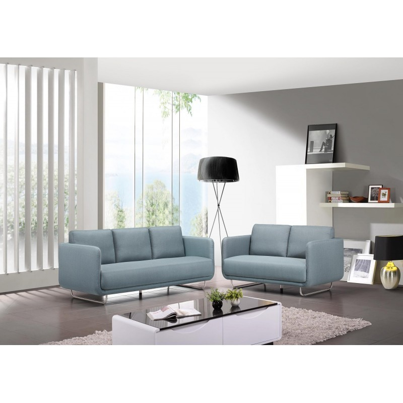 canap droit vintage cubique 3 places jonaz en tissu bleu clair. Black Bedroom Furniture Sets. Home Design Ideas
