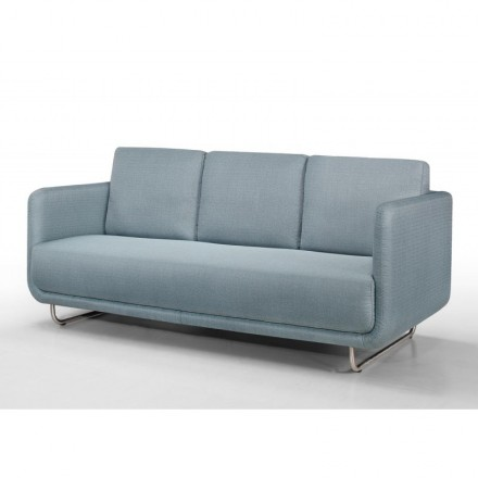 Sofa vintage cubic right 3 places JONAZ in fabric (light blue)