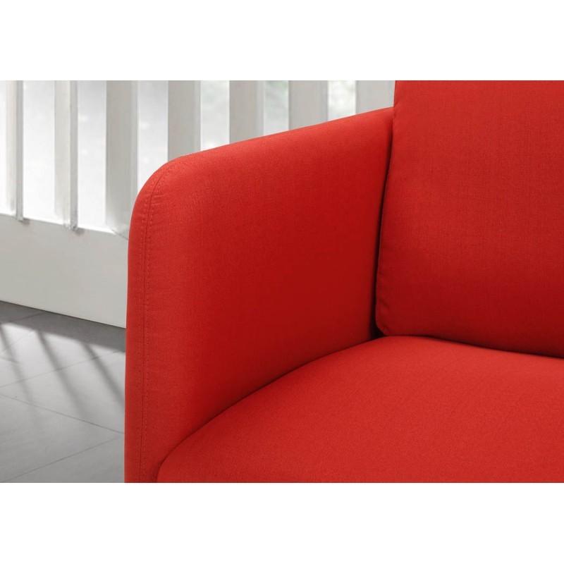 Canapé droit vintage cubique 3 places JONAZ en tissu (rouge) - image 30324