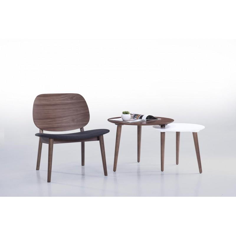 Lot de 2 petits fauteuils rétro vintage RACHEL en tissu et bois (gris foncé, noyer) - image 30352