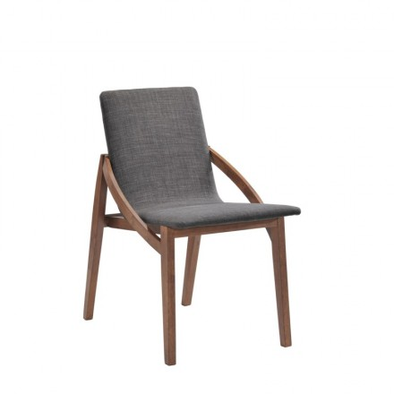 Set of 2 contemporary chairs MARIANNE in fabric and wood (anthracite grey, walnut)