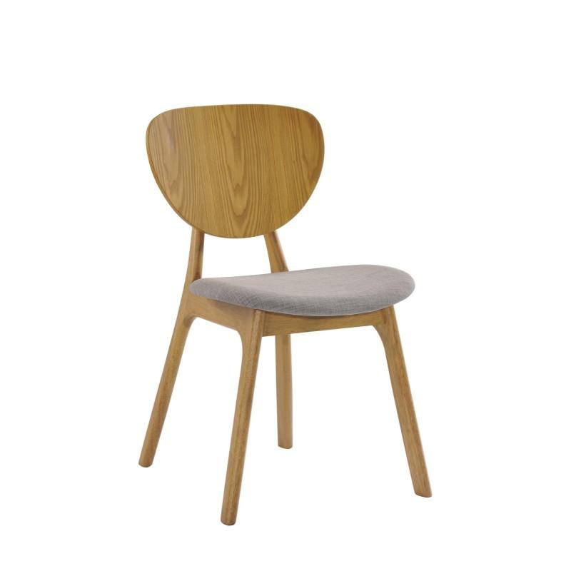 Lot de 2 chaises vintages INES en tissu et bois (gris clair, chêne) - image 30371