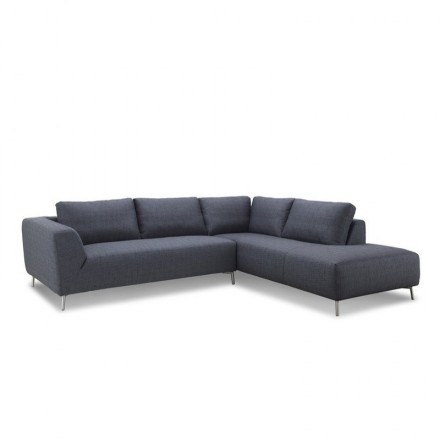 Corner sofa design right side 5 places with JUSTINE chaise in fabric (dark gray)