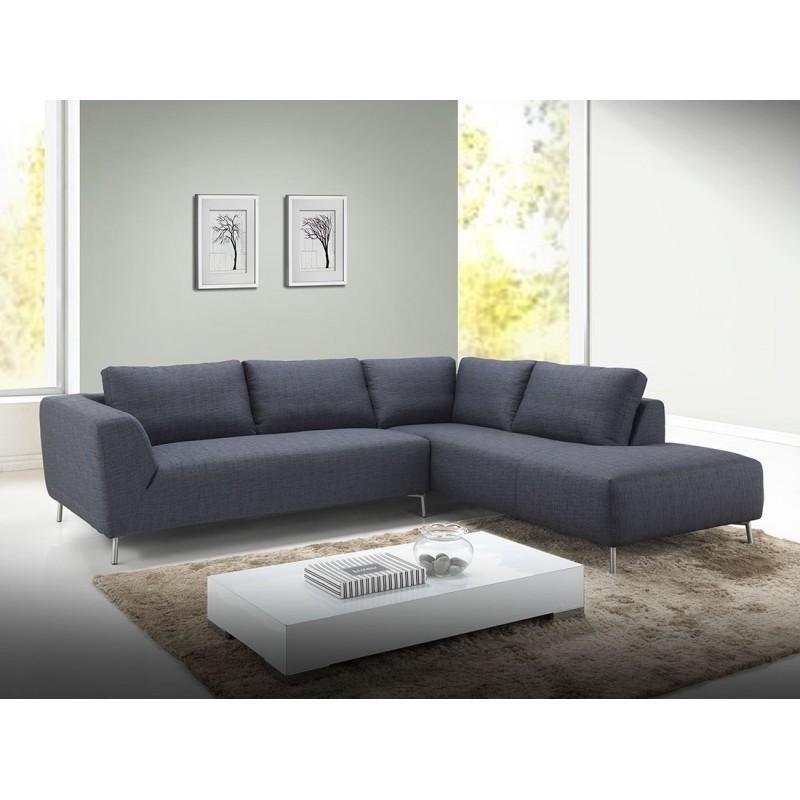 Canapé d'angle côté Droit design 5 places avec méridienne JUSTINE en tissu (gris foncé) - image 30383